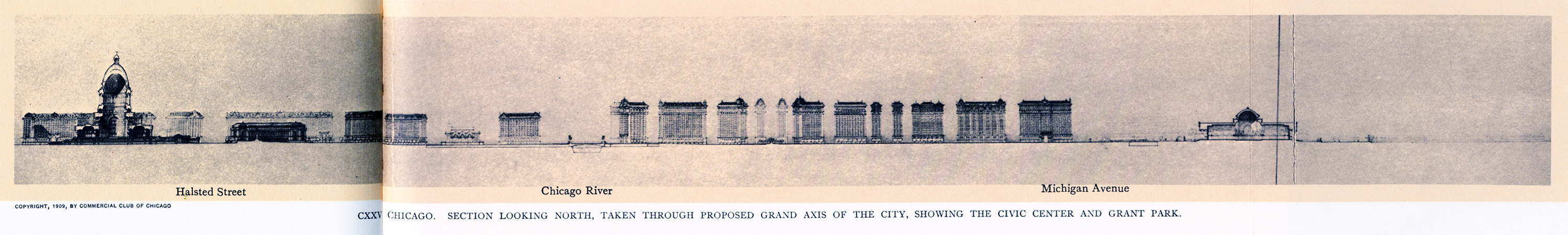 CXXVI: Section through proposed Grand Axis of The City, looking north