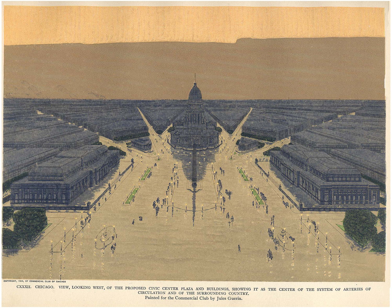CXXXII: View of proposed Civic Center Plaza and City Hall, looking west