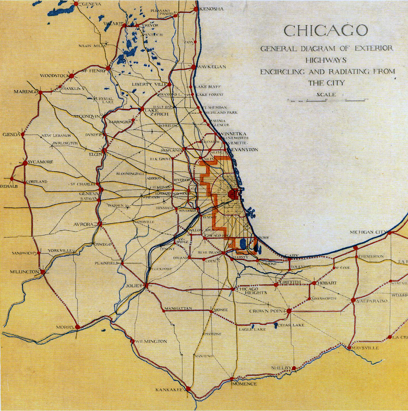 XL: Diagram of Chicago's Radiating and Encircling Regional Thoroughfares