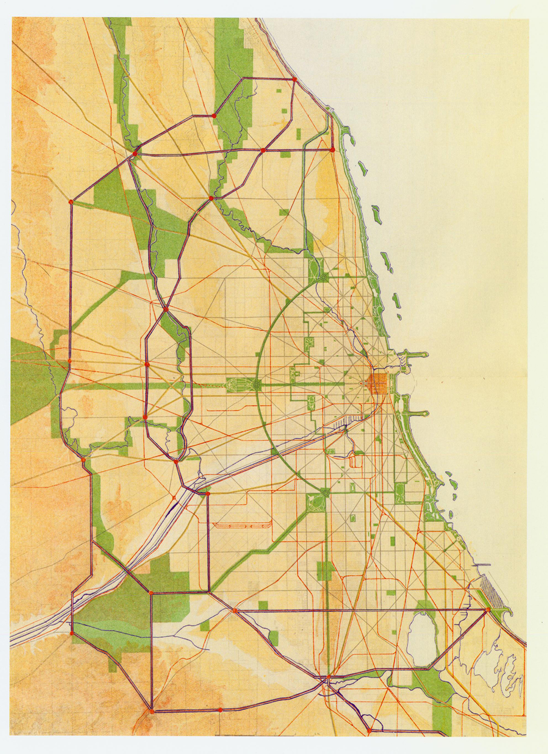 XLIV: Map of Chicago's proposed System of Boulevards, Parks and Forest Preserves