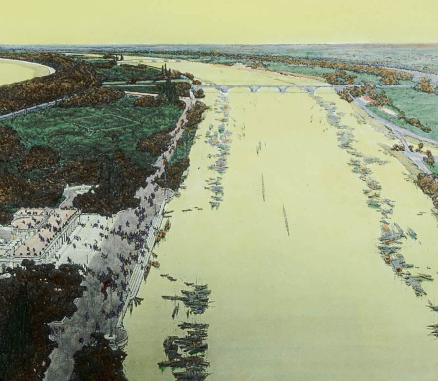 LI: Aerial view of proposed South Shore Lagoons, looking south