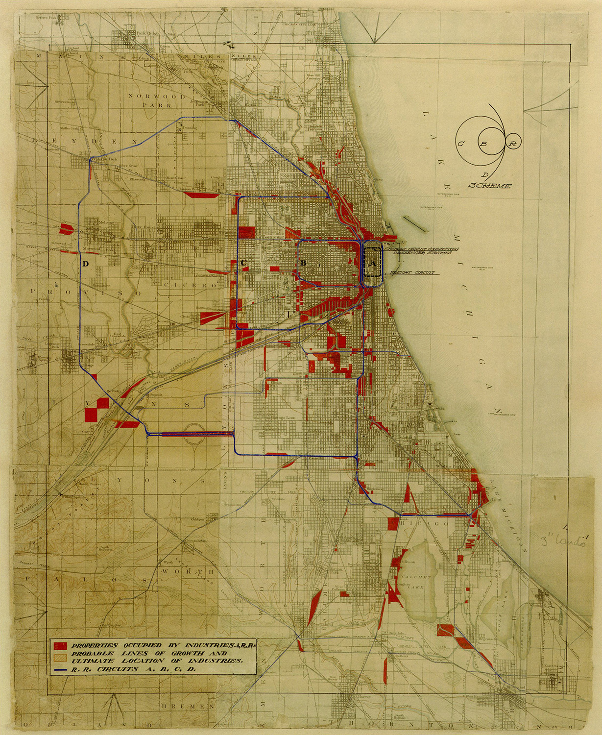 LXXIII: Diagram of existing 1909 industrial areas and commuter and industrial rail circuits