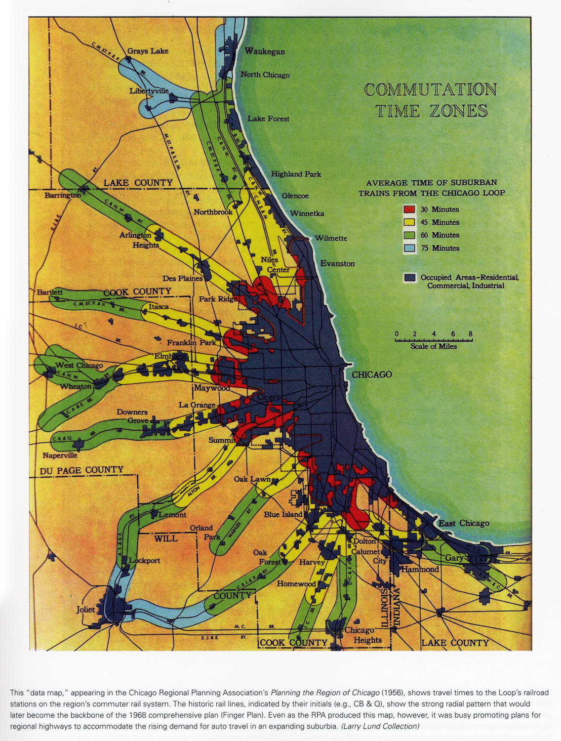 Metropolitan Chicago Settlement Densities - Chicago map time zone