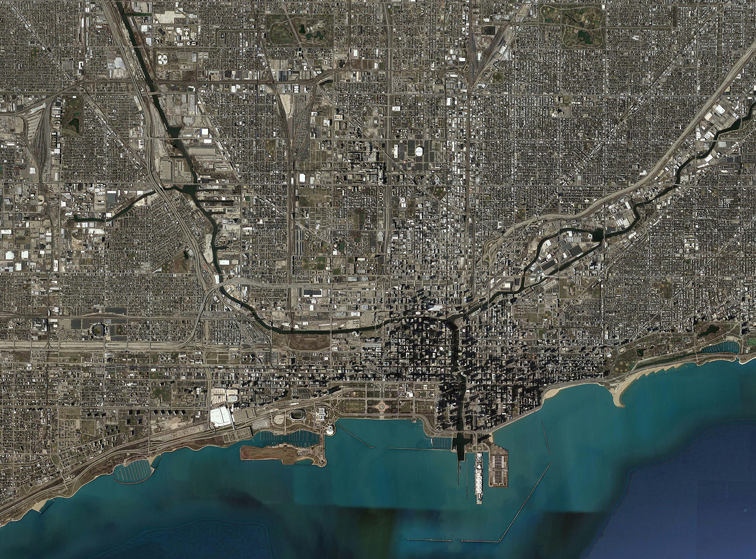 Satellite View Of Chicagos Greater Historic Center - Satellite view