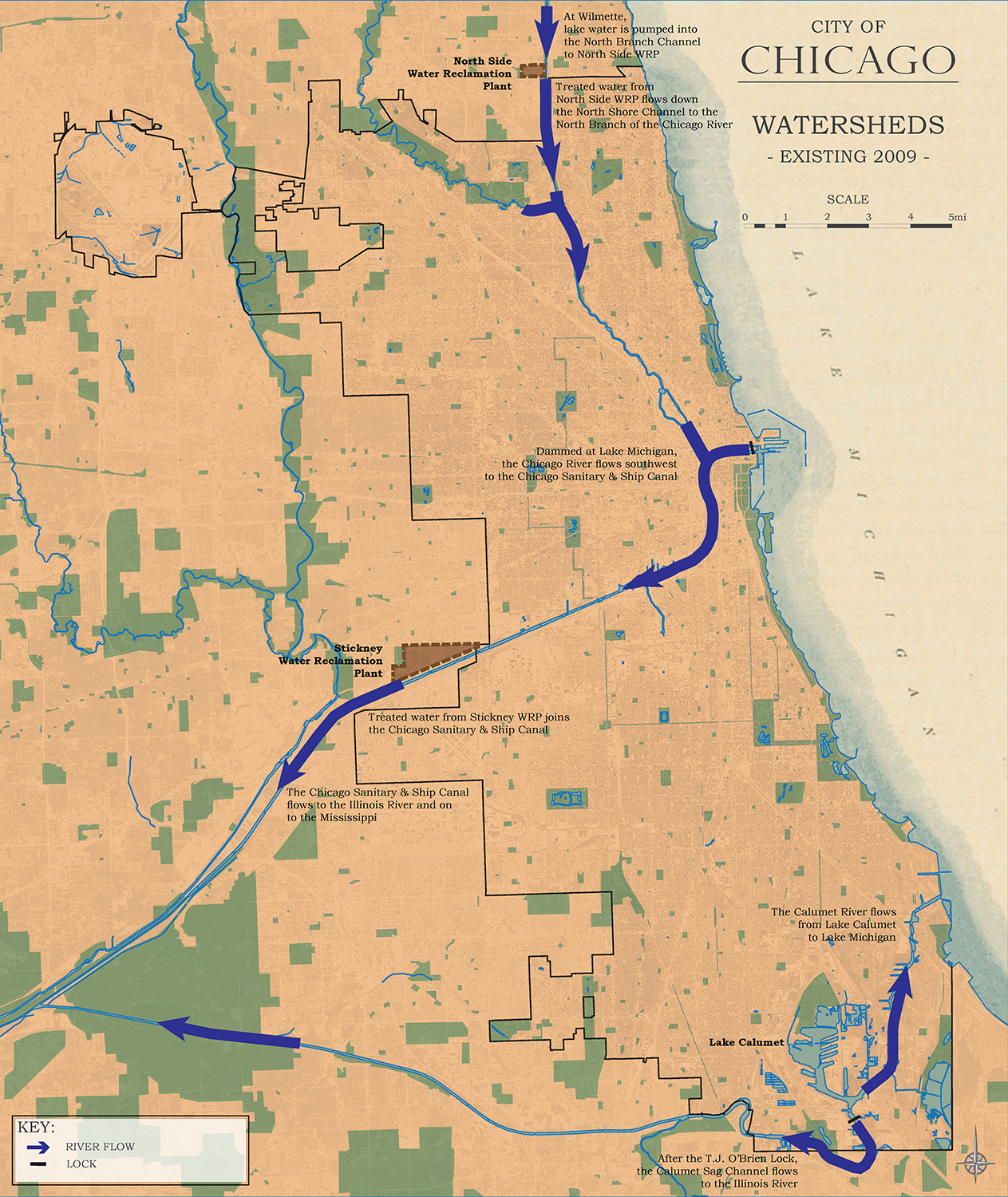 Metropolitan Chicago Water - Chicago map river