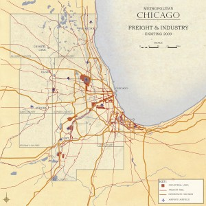 3.4-05-Metro Chicago existing Industrial Land - Freight Rail - Interstates (2009)